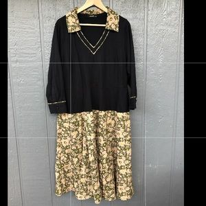 eShakti Womens Dress  22W 2X Floral Long Sleeve